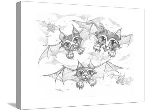 Bat Cats Pencil-Jeff Haynie-Stretched Canvas Print
