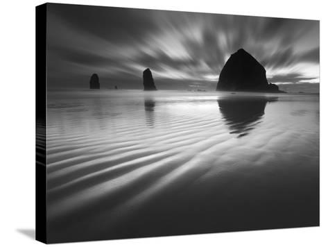 Cannon Beach Textures-1-Moises Levy-Stretched Canvas Print