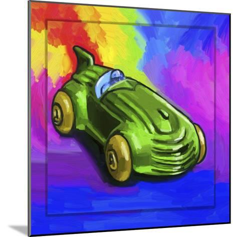 Pop-Art Deco Race Car Toy-Howie Green-Mounted Giclee Print