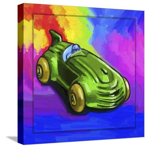 Pop-Art Deco Race Car Toy-Howie Green-Stretched Canvas Print