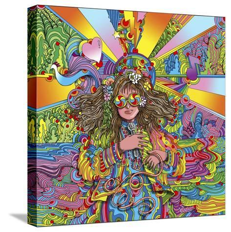 Hippie Chick Swril Glasses-Howie Green-Stretched Canvas Print