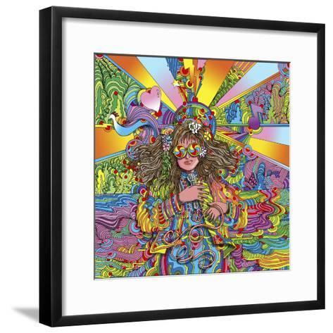 Hippie Chick Swril Glasses-Howie Green-Framed Art Print