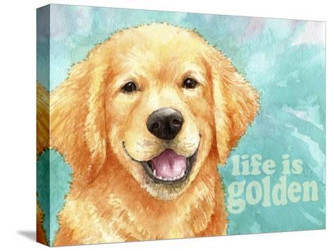 Life Is Golden Retriever-Melinda Hipsher-Stretched Canvas Print
