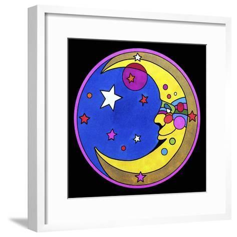 Pop Art Moon Circle-Howie Green-Framed Art Print