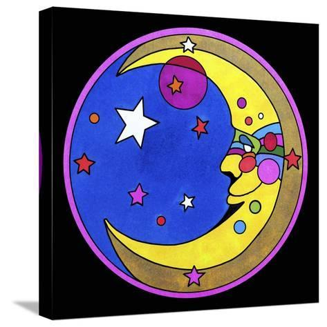 Pop Art Moon Circle-Howie Green-Stretched Canvas Print