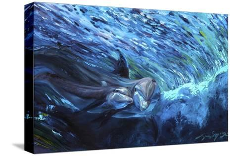 All My Waves Mother and Baby Bottlenose Dolphin-Lucy P. McTier-Stretched Canvas Print