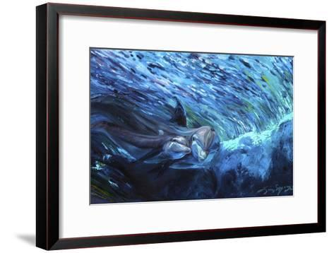 All My Waves Mother and Baby Bottlenose Dolphin-Lucy P. McTier-Framed Art Print