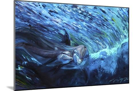 All My Waves Mother and Baby Bottlenose Dolphin-Lucy P. McTier-Mounted Giclee Print