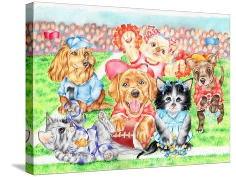 Fluffie Football-Karen Middleton-Stretched Canvas Print