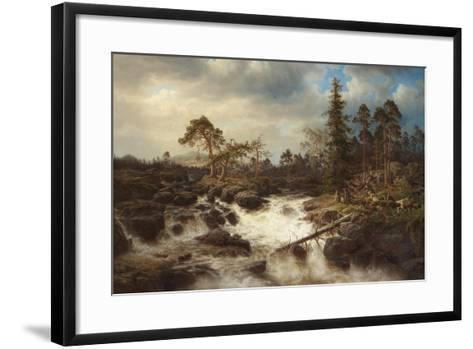 Romantic Landscape with Waterfall-Marcus Larson-Framed Art Print