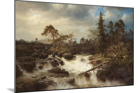 Romantic Landscape with Waterfall-Marcus Larson-Mounted Giclee Print