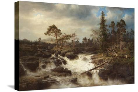 Romantic Landscape with Waterfall-Marcus Larson-Stretched Canvas Print