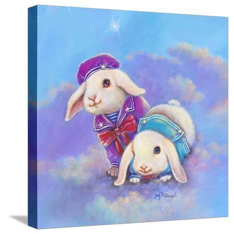 Two Lop Eared Bunnies Mouse and Two Bunnies in Clouds I-Judy Mastrangelo-Stretched Canvas Print