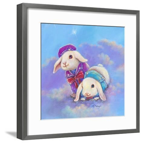 Two Lop Eared Bunnies Mouse and Two Bunnies in Clouds I-Judy Mastrangelo-Framed Art Print