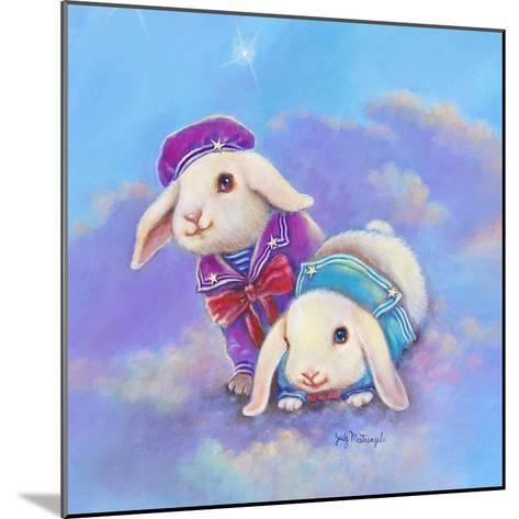 Two Lop Eared Bunnies Mouse and Two Bunnies in Clouds I-Judy Mastrangelo-Mounted Giclee Print