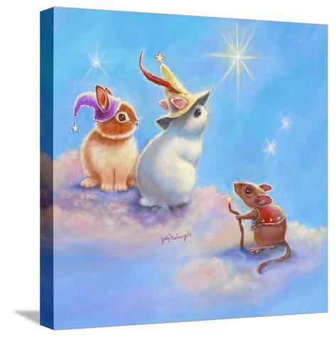 Two Lop Eared Bunnies Mouse and Two Bunnies in Clouds II-Judy Mastrangelo-Stretched Canvas Print