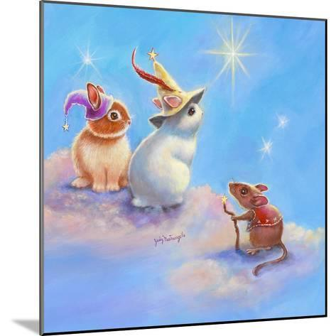 Two Lop Eared Bunnies Mouse and Two Bunnies in Clouds II-Judy Mastrangelo-Mounted Giclee Print