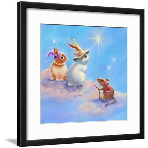 Two Lop Eared Bunnies Mouse and Two Bunnies in Clouds II-Judy Mastrangelo-Framed Art Print
