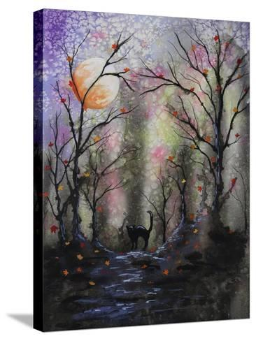 Black Cat in Forest-Michelle Faber-Stretched Canvas Print