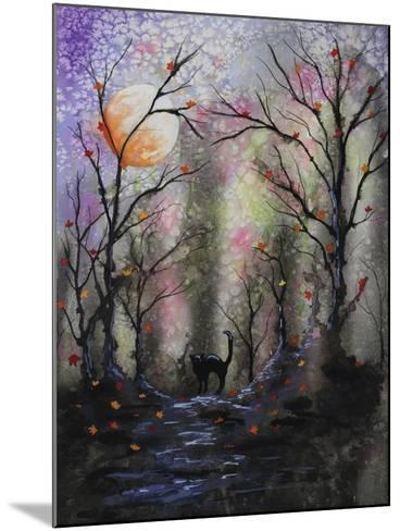 Black Cat in Forest-Michelle Faber-Mounted Giclee Print