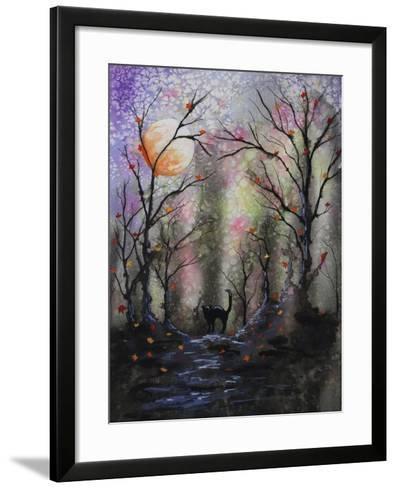 Black Cat in Forest-Michelle Faber-Framed Art Print