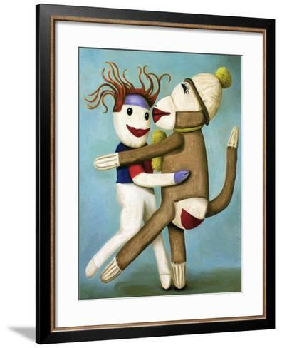 Sock Dolls Dancing-Leah Saulnier-Framed Art Print