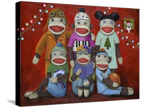 Sock Doll Family Portrait-Leah Saulnier-Stretched Canvas Print