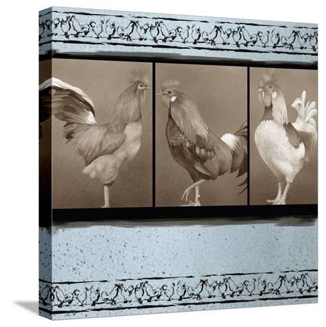 Rooster Ware Aqua I-Kory Fluckiger-Stretched Canvas Print