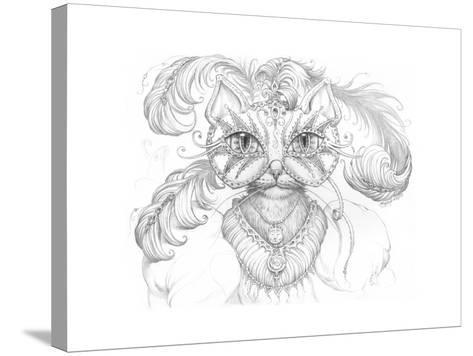 Mardi Gras Cat Pencil-Jeff Haynie-Stretched Canvas Print