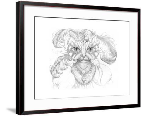 Mardi Gras Cat Pencil-Jeff Haynie-Framed Art Print