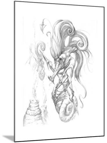 Aquatic Seahorse Warrior Pencil-Jeff Haynie-Mounted Giclee Print
