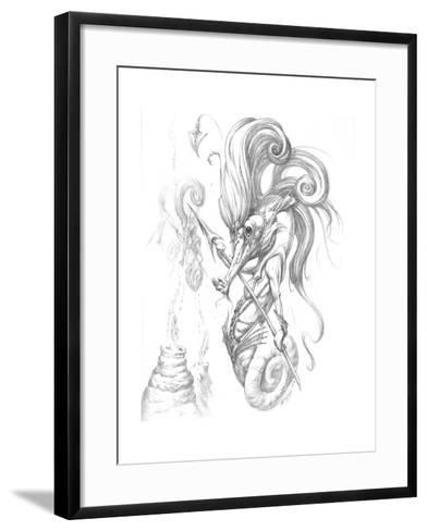 Aquatic Seahorse Warrior Pencil-Jeff Haynie-Framed Art Print