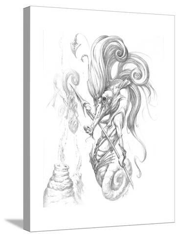 Aquatic Seahorse Warrior Pencil-Jeff Haynie-Stretched Canvas Print