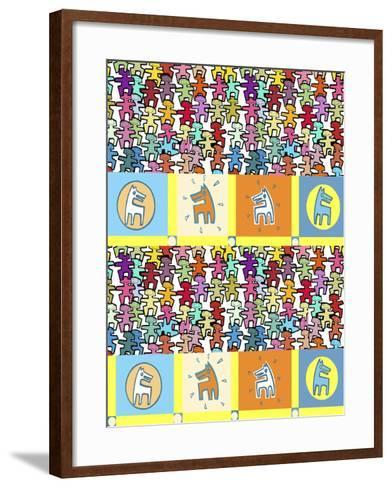 Happy People and Dogs-Miguel Balb?s-Framed Art Print