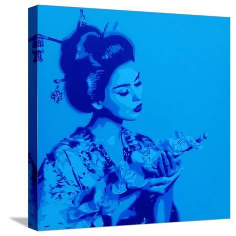 Blue Geisha-Abstract Graffiti-Stretched Canvas Print