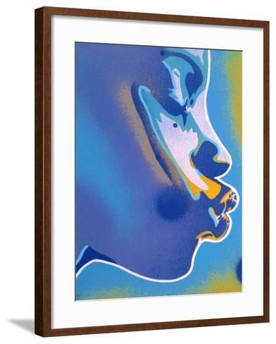 Blue Kiss-Abstract Graffiti-Framed Art Print