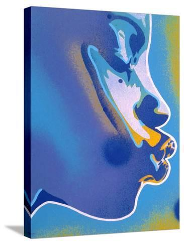 Blue Kiss-Abstract Graffiti-Stretched Canvas Print
