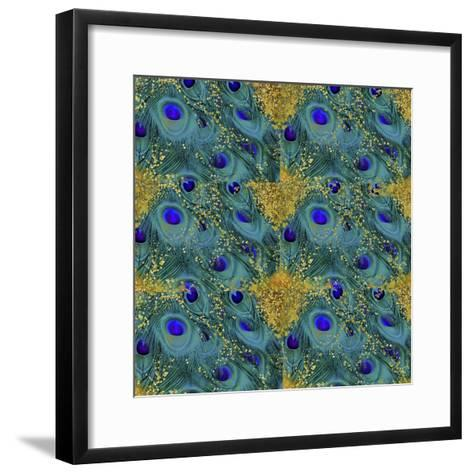 Gold Speckled Peacock Pattern-Tina Lavoie-Framed Art Print