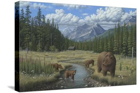 Checking Things Out - Grizzlies-Robert Wavra-Stretched Canvas Print