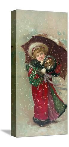 Little Girl Dog-Vintage Apple Collection-Stretched Canvas Print