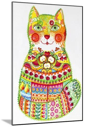 Green Folk Cat 1-Oxana Zaika-Mounted Giclee Print