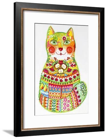 Green Folk Cat 1-Oxana Zaika-Framed Art Print