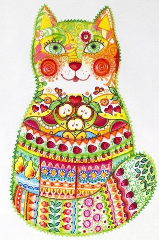 Green Folk Cat 1-Oxana Zaika-Stretched Canvas Print