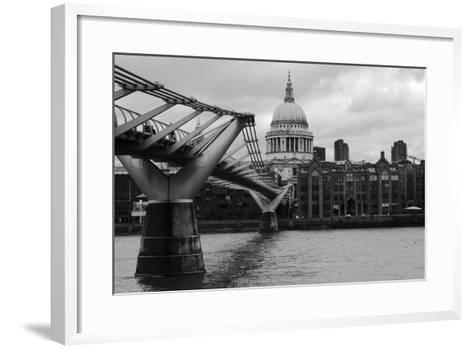 St Paul's Millennium Bridge BW-Toula Mavridou-Messer-Framed Art Print