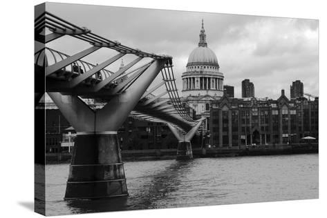 St Paul's Millennium Bridge BW-Toula Mavridou-Messer-Stretched Canvas Print