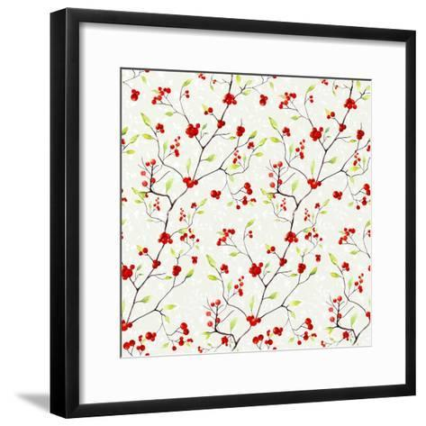 Red Berries Pattern-Irina Trzaskos Studios-Framed Art Print