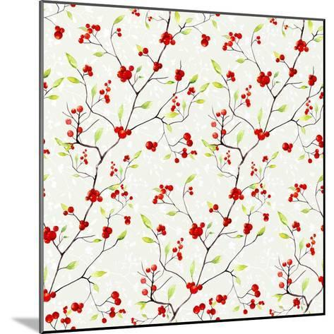Red Berries Pattern-Irina Trzaskos Studios-Mounted Giclee Print