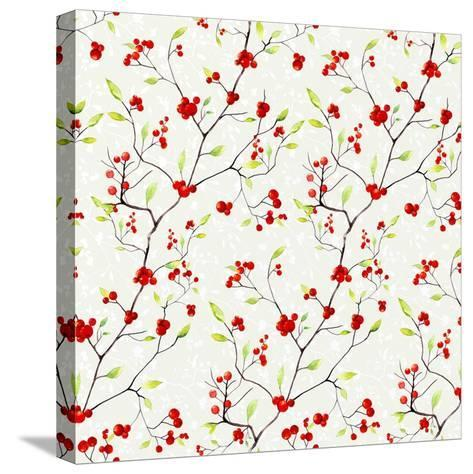 Red Berries Pattern-Irina Trzaskos Studios-Stretched Canvas Print