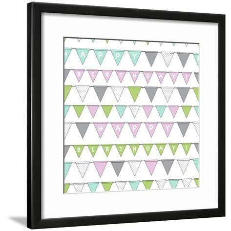 Happy Birthday Bunting Girl-Joanne Paynter Design-Framed Art Print