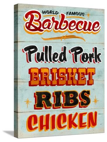 Barbeque Board Distressed-Retroplanet-Stretched Canvas Print